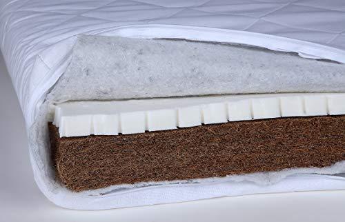 YappyWool Colchón Cuna Bebé - Colchón Transpirable 120x60 cm con fibras de Lana Natural y Funda 100% Algodón Lavable blanco Látex.