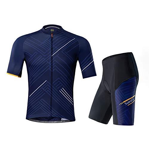 Santic Hombre Traje de Ciclismo Culotte Bici Ropa Hombre Verano Maillot Bicicleta Hombre Azul EU M