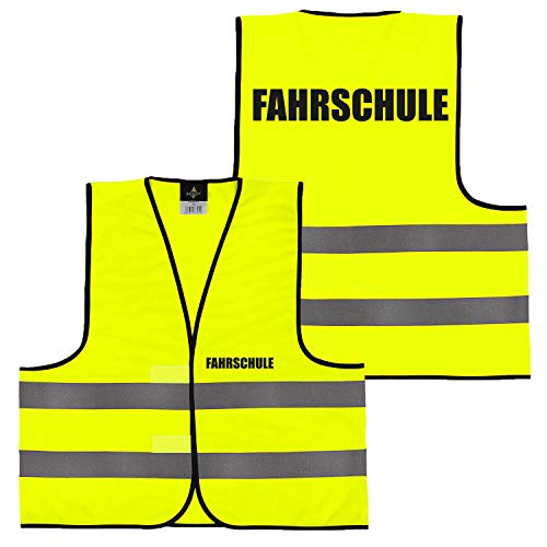 Warnweste Gelb Orange, beidseitig bedruckt auf Brust und Rücken mit Ordner, Security große Auswahl Motive Aufdrucke 027 Fahrschule (Gelb) M