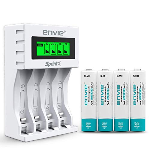 ENVIE Ultra Fast Charger ECR 11 MC for AA & AAA Ni-MH Rechargeable Batteries with 4xAA2800 Rechargeable Batteries | with Over Charge Protection (ECR11MC + 2800 4PL)