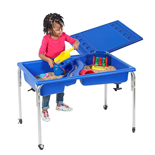 Children's Factory 24' Lg. Neptune Double-Basin Table & Lid Set, Preschool/Homeschool/Playroom Sensory Table for Toddlers, Kids Sand and Water Table