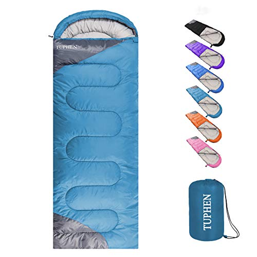 tuphen- Sleeping Bags for Adults Kids Boys Girls Backpacking Hiking Camping Microfiber Liner, Cold Warm Weather 4 Seasons Winter, Fall, Spring, Summer, Indoor Outdoor Use, Lightweight & Waterproof