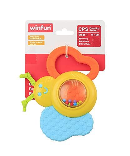 WinFun 000183-NL Babys Schmetterling Rassel, 0-18M Greifling, Spielzeug, Babyrassel mit Geräuschen, Gelb, Blau, Orange
