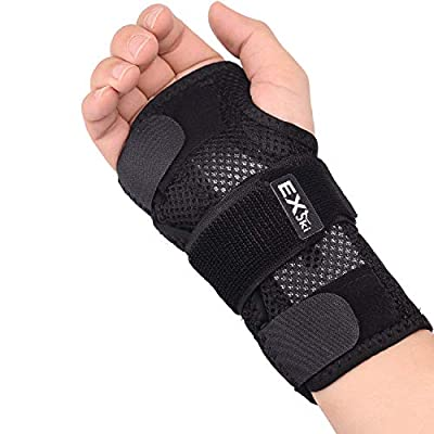 EXski Wrist Brace for Carpal Tunnel, Night Sleep Wrist Support Brace With Removable Metal Splints Right Hand Medium
