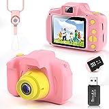 YunLone Cámara para Niños 12MP Selfie Cámara Digital 1080P HD Video Cámara Infantil 32GB TF Tarjeta, Estuche de Transporte, Batería Recargable 1200 mAh,2 Pulgadas, Regalos Juguete - Rosa