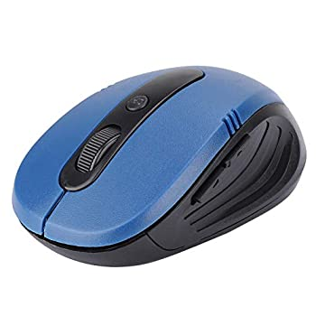 Wireless Mouse USB 1600DPI PC Optical Mouse Blue 4D Battery Operated with 2 Function Keys for Computer Laptop Computer Accessory
