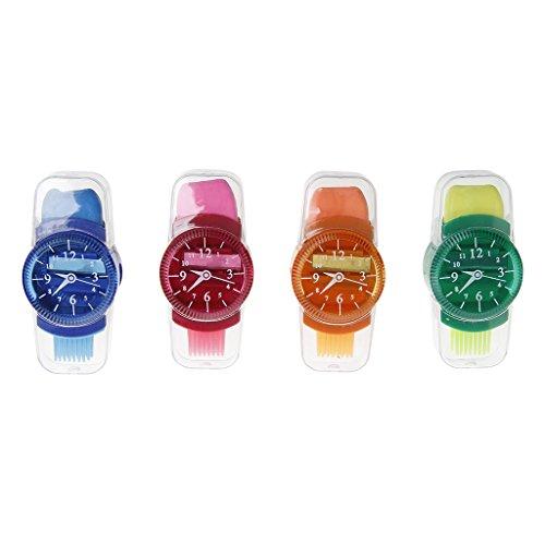 GUOjianhui_1 Stück Kreative Grinder Cartoon-Uhren, geschliffen Bleistiftspitzer mit Radiergummi-Pinsel