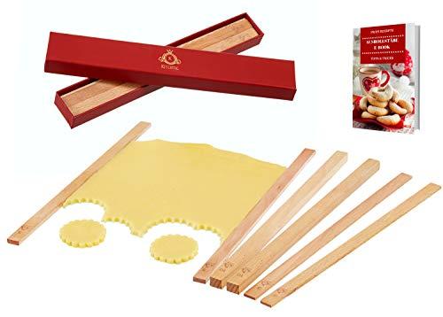 KITCHTIC Premium Teighölzer Set [6 Teilig] - Die perfekten Teigstäbe zum Ausrollen von Plätzchen, Fondant, Teigen u.v.m. I Aus wasserfestem Buchenholz mit E-Book in einer schönen Geschenksbox