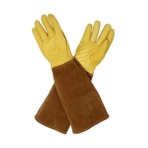 SHKY Verdicken Sie Schweißen Handschuhe Leder hitzebeständige Arbeitsschutzhandschuhe, Kaktus Handschuhe Garten Arm Protektoren Garten Geschenke für Männer und Frauen,S