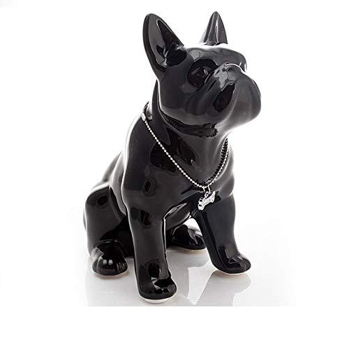 QIANNI Ornaments Statue Ceramic French Bulldog Dog Statue Home Decor Crafts Objects Ornament Porcelain Animal Figurine Garden Decoration L3409,Black,19X11X23 cm