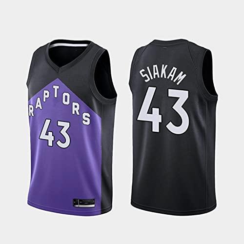 Jersey Men's NBA Raptors 43# Pascal Siakam Cómodo/Ligero/Transpirable Bordado Malla Swing Swing Camiseta Retro Sudadera,XXL