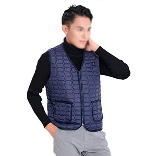 Verwarmingsvest voor mannen, USB-oplaadkabel, verwarmbare kleding met 3 temperatuurgegevens, verstelbaar, voor motorfiets en fiets (powerbank niet inbegrepen)