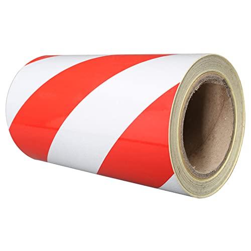 PVC Marking Tape, Red/White Self Adhesive Hazard Warning Tape Premium Vinyl Safety Tape,20cm25m