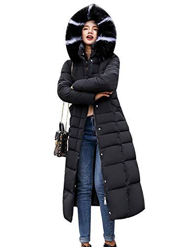 Las Mujeres Acolchadas Largas Abrigos De Parka De Piel Sintética con Capucha Puffer Abrigos Acolchados Invierno Outwear Negro XL