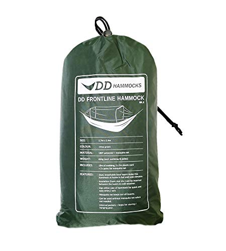 DD Frontline Hammock - Olive Green - Lightweight Camping, Jungle Hammock with Mosquito Net