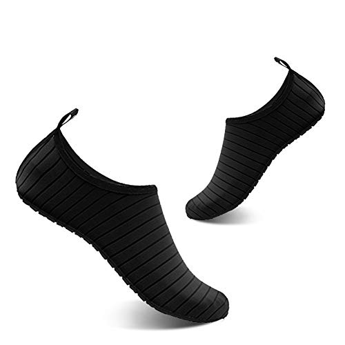 YALOX Men and Women Slip-On Water Shoes Lightweight Barefoot Quick-Dry Aqua Yoga Socks for Outdoor Beach Sports(Black,34/35EU)