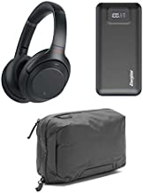 Sony WH-1000XM3 Wireless Noise-Canceling Over-Ear Headphones, Black - Bundle with Energizer 20000mAh LCD Display Portable Power Bank, Black, Peak Design Tech Pouch, Black