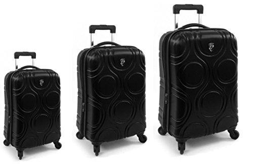 Kofferset, Gepäckset, Reisegepäck by Heys - Premium Designer Hartschalen Kofferset 3 TLG. - Core Eco Orbis Schwarz Handgepäck + Koffer mit 4 Rollen Medium +...