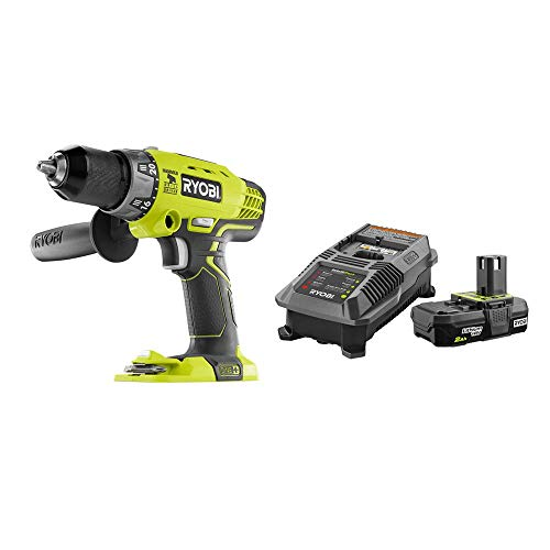 RYOBI P214-P163 18-Volt ONE+ Cordless 1/2 in. Hammer Drill/Driver with Handle with 2.0 Ah Battery and Charger Kit
