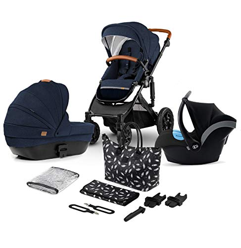 Kinderkraft Pram 3in1 Set Prime 2020, Travel System, Elegant Baby Pushchair, Buggy, Foldable, with Infant Car Seat, Carrycot, Accessories, Rain Cover, Footmuff, from Birth to 3.5 Years, Navy