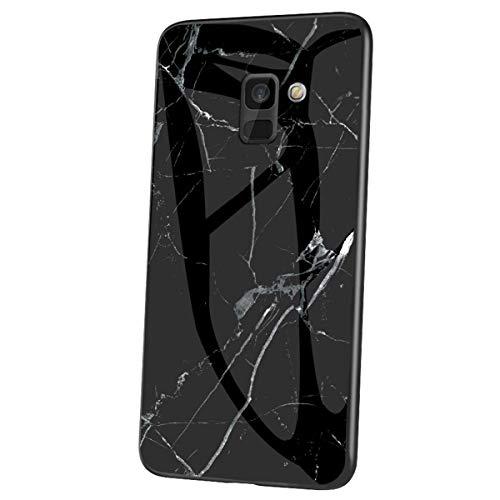 Herbests Kompatibel mit Samsung Galaxy A6 2018 Hülle Gehärtetes Glas Rückseite + Silikon Bumper Handyhülle Marmor Muster Kratzfeste Hardcase Schutzhülle Stoßfest Hybrid Hülle,Schwarz