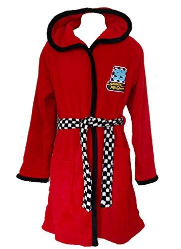 Disney Cars Lightning McQueen Rotes Morgenkleid Weiches Fleece Bademantel Kapuzengewand für Jungen (134-140 cm / 9-10 Jahre)