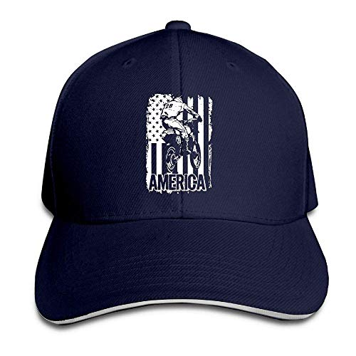 Dirt Bike American Flag Adjustable Baseball Hat Dad Hats Trucker Hat Sandwich Cap