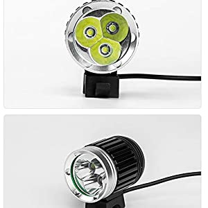 Faros Delanteros IPX6 CREE XM-L 3*T6 LED Faro Bici Bicicleta Ciclismo con Baterias Recargables 18650 a 6400 mAh y EU Cargador Negro