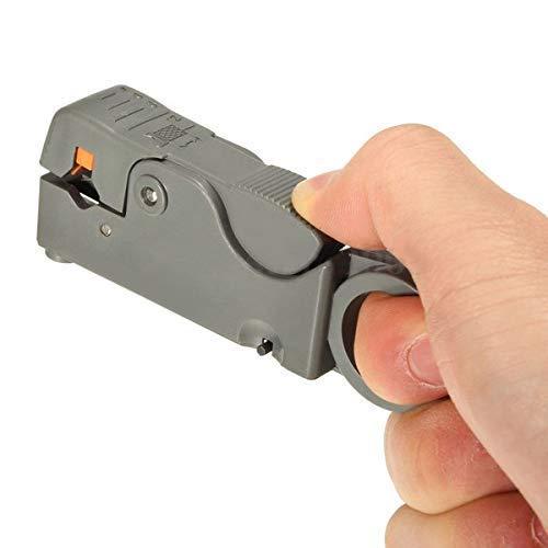 Magiin Pelacables Coaxial Automático Alicates de Alambre Multifuncionales Herramientas de Corte Gris Plástico para Pelar y Cortar Cables, Líneas de CATV, Líneas de Monitoreo