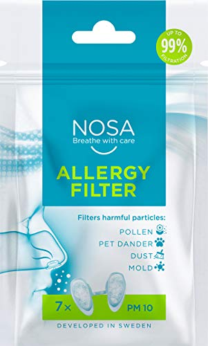 NOSA Allergy Filter   Nasal Filter   Prevents Pollen   Filters Harmful Particles   Prevents Pet Allergy   Prevents Dust   Prevents Mold   Pack of 7   Reduces Allergy Reactions