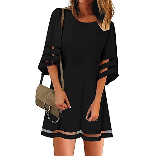 Innerternet-Vestido,Moda de Verano Europea y Americana Mini Vestido Suelto de Manga Corta de Cuello Redondo de Malla Transparente Color sólido?Negro/Rojo/Blanco,S-XXL?