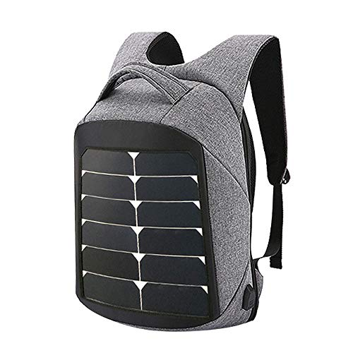 KEYBAO Multiple Function Solar Backpack with 15W Solar Panel Charger Perfect for 15.6'' laptop,Work,School,Camping,Charging Smart Phone,Tablet,or a Power Bank and More,Great for Traveling,Gray