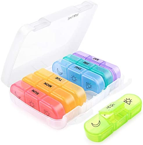 Weekly Pill Organizer 3 Times A Day Medication Storage 7 Day Pill Case Box for Vitamins Fish product image