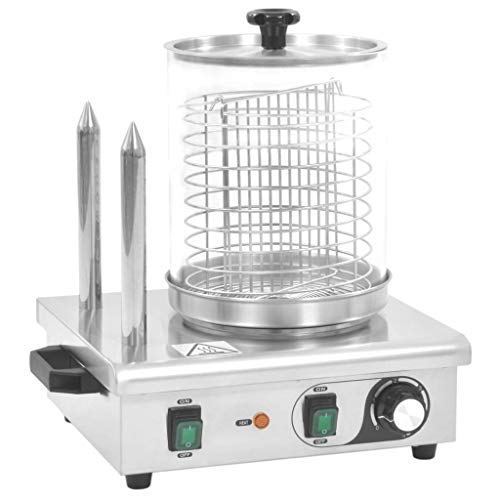 vidaXL Appareil Hot-dog 2 Tiges Acier Inoxydable 500 W Cuisine Cuisson Machine