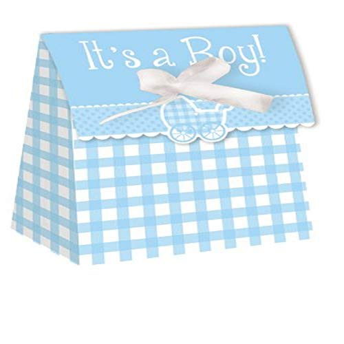 Creative Converting Baby Shower Boy Gingham 12 Count Die Cut Favor Bags - 081331