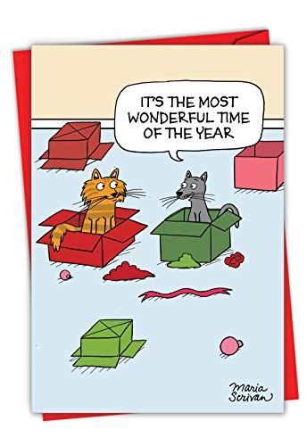 Most Wonderful Time - Hilarious Cat Merry Christmas Greeting Card with Envelope (4.63 x 6.75 inch) - Cartoon Pet Animal Stationery for Xmas C7088XSG