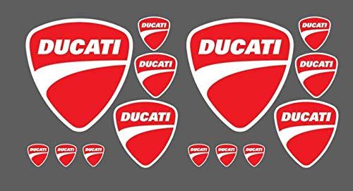 Set 14 Aufkleber Ducati Corse Rot