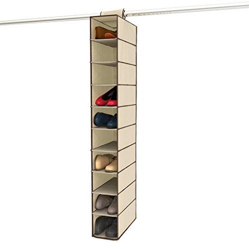 "Ziz Home Hanging Shoe Organizer for Closet 10 Shelf Tough Breathable Fabric Anti-mold 12""x6""x47""  Closet Shoe Organizer Hanging  Shoe Storage Hanging Shoe Holder  Shoes Sorter Shelves Rack Hanger Beige"