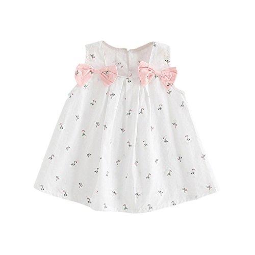 Brightup Baby Bow Knoten Blumenkleid 0-24 Monate kleines Mädchen Sommerkleid Weste A-Linie knielangen Kleid