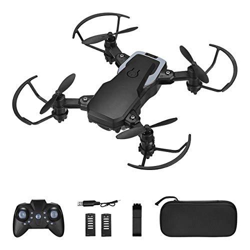 Powerextra Mini drone con fotocamera – Mini drone pieghevole con telecomando HD WiFi, fotocamera FPV da 2,4 GHz, clip 3D e funzione twist con custodia, 3 batterie per principianti
