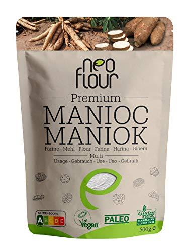 Farine de Manioc Premium / Spéciale pour Patisserie et Cuisine / Sans Gluten / 100% Naturelle / Sans Conservateurs / Sans Additifs / VEGAN / PALEO / Nutri-Score A / 500g
