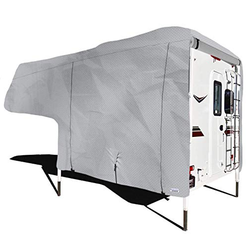 North East Harbor Waterproof Superior Truck Bed Camper Storage Cover Fits Length 8'-10' Heavy Duty 4 Layer Fabric Camper Cover - 120' L x 102' W x 92' H