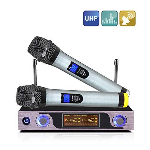 MSOAT Wireless UHF Portatili Set di Microfoni, 2 Microfoni Portatili Professionali per Segnale forte con Schermo a LED per karaoke, feste, palcoscenic