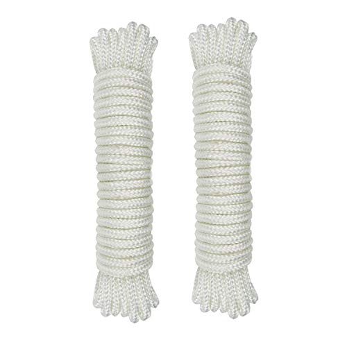 (1/8 inch)3mm Nylon Rope 25feet Solid Braid,Multipurpose Utility Cord Line,High Strength White Utility Rope Cord Nylon Twine,Commercial, Anchors,Crafts,Blocks,Pulleys,Towing,Cargo,Tie-Downs(25ftx2)