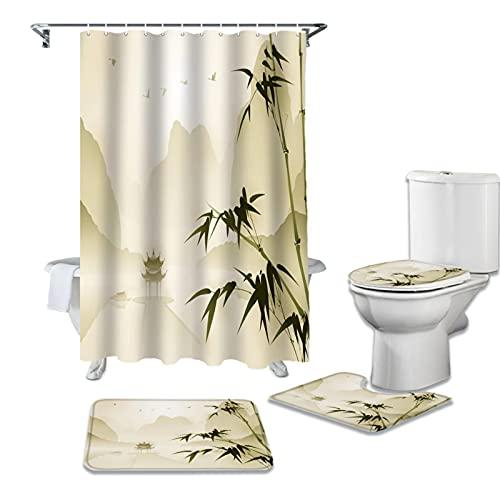 Eighty-Eight - Juego de cortinas de ducha de bambú (72 x 72 cm), diseño de pabellón