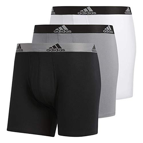 adidas Men's Stretch Cotton Boxer Briefs Underwear (3-Pack), Black/Grey Grey/Black White/Black, MEDIUM