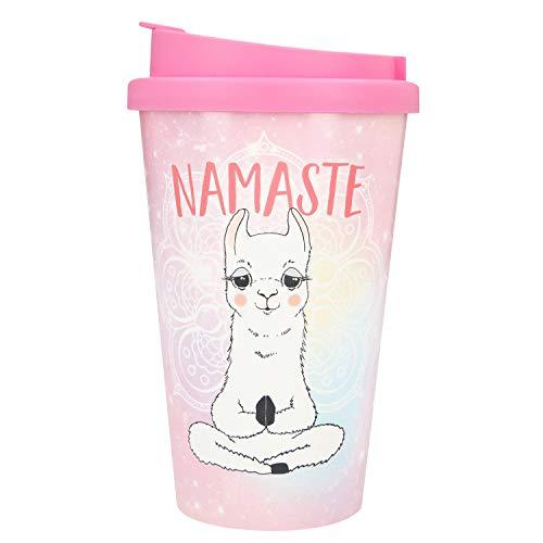 Depesche 2180.036 To-Go Becher aus Kunststoff mit Spruch, 350 ml, Namaste