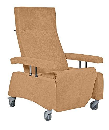 DEVITA - Pflegesessel Fernsehsessel Relaxsessel LUTRA Easy mit Rollen, versenkbare Armlehnen und Verstellbarer Rückenlehne bis 120 kg - mit Netzstecker und Akku - dunkel Beige mikrofaser