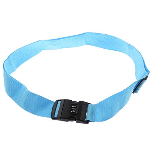 kesoto 50-95cm/ 19.6'' to 37.4'' Luggage Strap Adjustable Travel Belt with 3-Dial Combination Lock - Blue