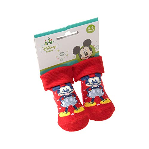 Mickey Mouse Socke Erstlingssöckchen - 1 paar - mit Umschlag - ohne Frotte - Comicbuch - Coton - Rouge - Disney Baby - 0/6 mois